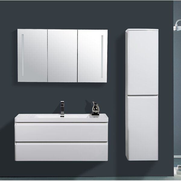 Mccarty 47 Wall-Mounted Single Bathroom Vanity Set with Mirror by Orren Ellis