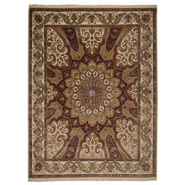 Marathon Hand-Knotted Wool Cream/Red Area Rug by Bloomsbury Market