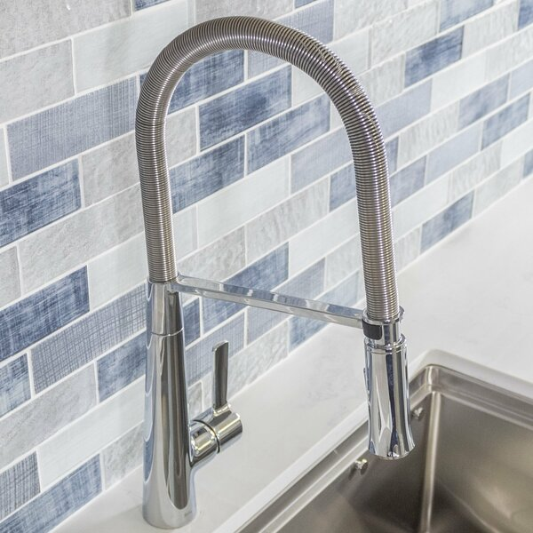 Spring Pull Down Single Handle Kitchen Faucet with Side Sprayer