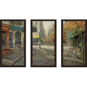 'Quaint City Nostalgia' Framed Acrylic Painting Print Multi-Piece Image on Glass by Alcott Hill