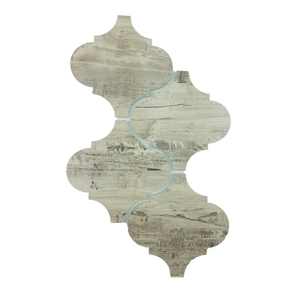 Nature Big Latern 5.63 x 5.63 Glass Wood Look Patterned Tile in Birchwood Gray/Tan by Abolos