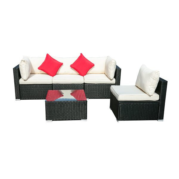Cusco 7 Piece Rattan Sectional Seating Group with Cushions by Latitude Run