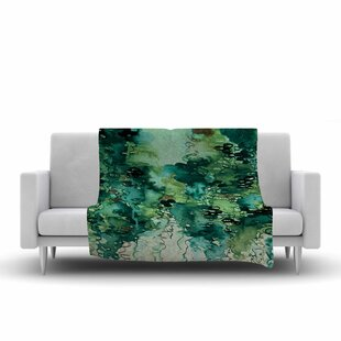 Reviews Ebi Emporium Beauty in the Rain Emerald Fleece Blanket By East Urban Home