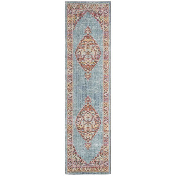 Younes Aqua/Black Area Rug