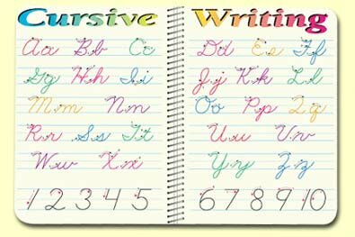 Cursive Writing Placemat (Set of 4) by Painless Learning Placemats
