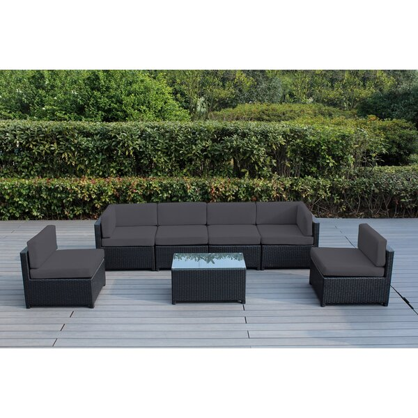 Brough 7 Piece Sectional Seating Group with Cushions by Longshore Tides Longshore Tides