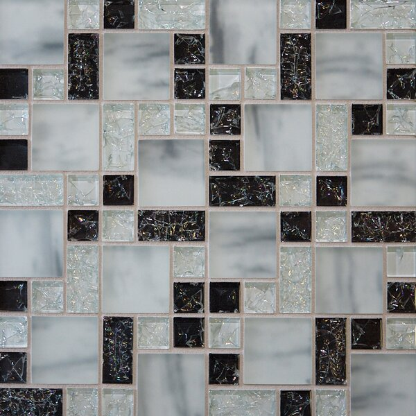 Staccato 12.63 x 12.63 Mosaic Gloss Matte Tile in Black by Grayson Martin