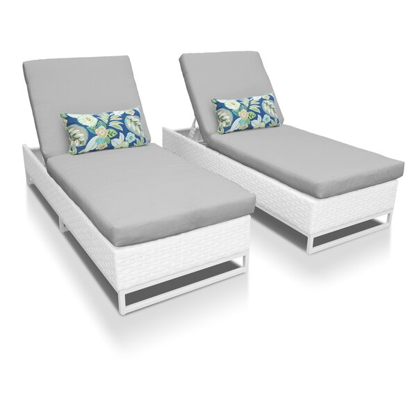 Miami Reclining Chaise Lounge with Cushion (Set of 2) by TK Classics