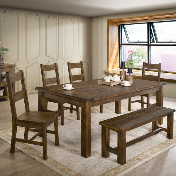 Garlington 6 Piece Solid Wood Dining Set By Loon Peak Great price