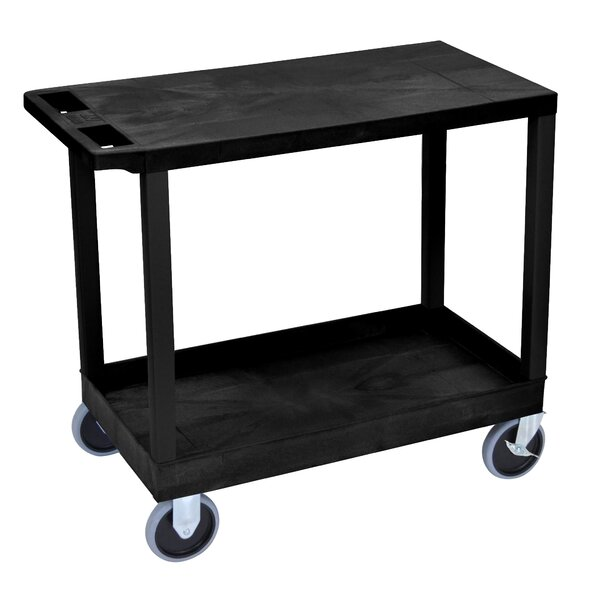 E Series Heavy Duty Utility Cart with 1 Tub and 1 Flat Shelves by Luxor