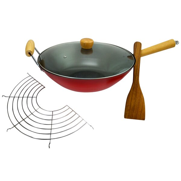 Cocina 14 Gran Via Carbon Steel Wok Set with Lid, Rack and Spatula by Oster