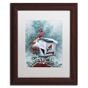 'Christmas Cardinals' by Jenny Newland Framed Graphic Art by Trademark Fine Art