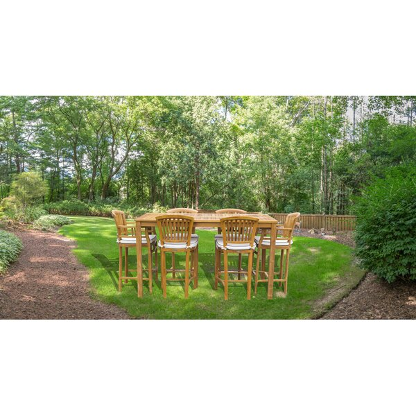 Ventura 7 Piece Teak Bar Height Dining Set with Sunbrella Cushions by Bayou Breeze