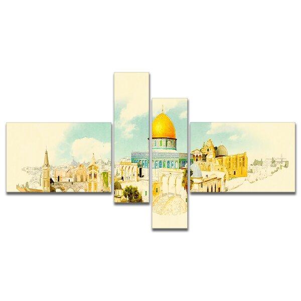 East Urban Home Jerusalem Panoramic View Watercolor Painting Print Multi Piece Image On Canvas Wayfair