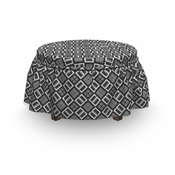 Echeloned Quadrats Ottoman Slipcover (Set Of 2) By East Urban Home