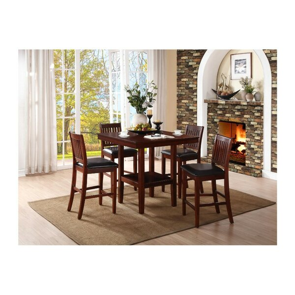 Gerdes Counter Height 5 Piece Solid Wood Pub Table Set by Red Barrel Studio