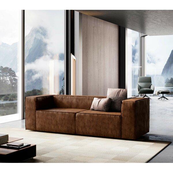 Dominick Leather Sofa by Modloft Black