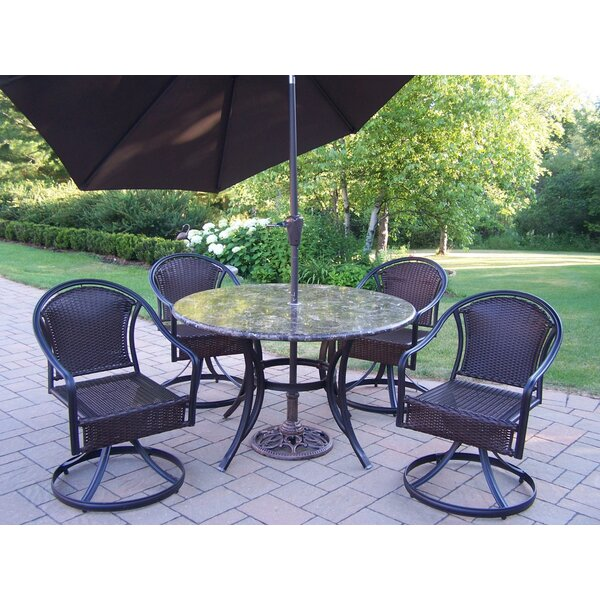Stone Art Tuscany Swivel 5 Piece Dining Set with Umbrella by Oakland Living