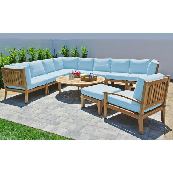 Crescio Deluxe 11 Piece Teak Sectional Seating Group with Sunbrella Cushions by Foundry Select