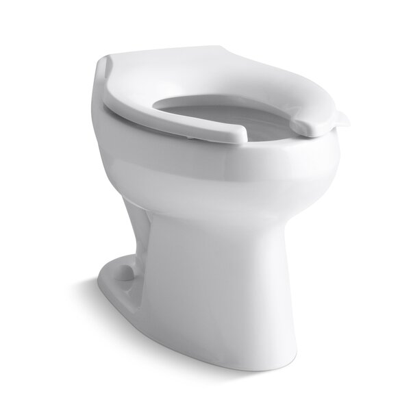 Wellworth 1.6 or 1.28 GPF Flushometer Valve Elongated Flushometer Toilet Bowl with Top Inlet, Requires Seat by Kohler