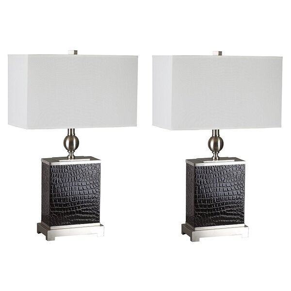 Stinnett Faux Croc 25 Table Lamp (Set of 2) by Latitude Run