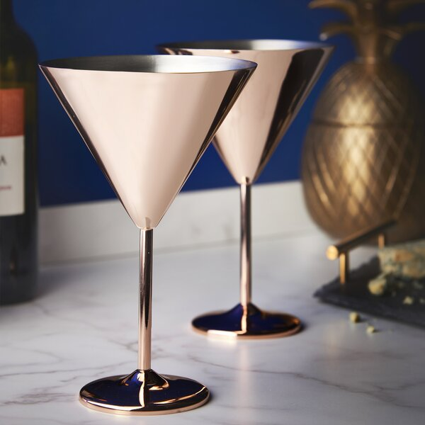 Martini 16 oz. Stainless Steel Cocktail Glass (Set of 2) by VonShef