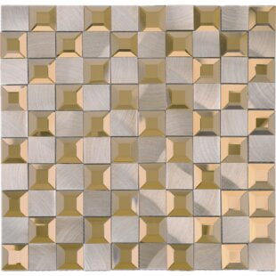 1 X Mixed Material Tile In Gold Gray