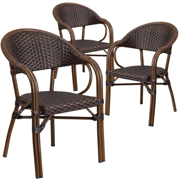 Shelie Rattan Restaurant Patio Arm Chair (Set of 3) by Bayou Breeze