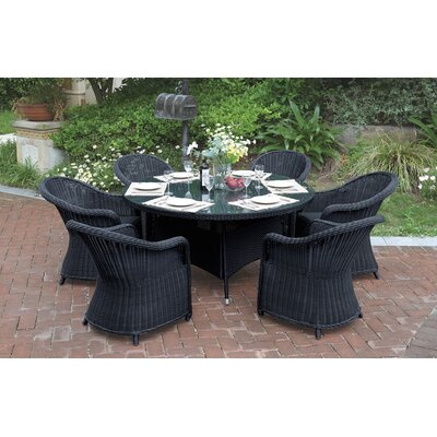 7 Piece Dining Set with Cushions JB Patio Color: Black