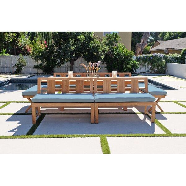 Veun 7 Piece Teak Sunbrella Dining Set with Cushions by Foundry Select