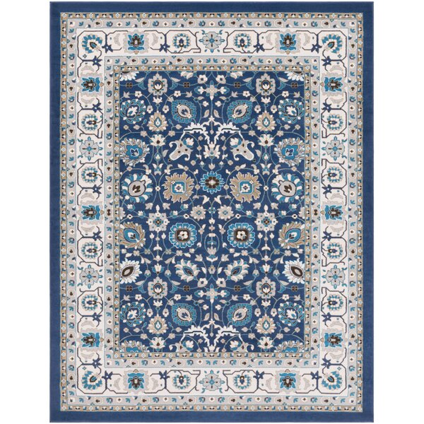 Kent Traditional Floral Navy/Ivory Area Rug by Charlton Home