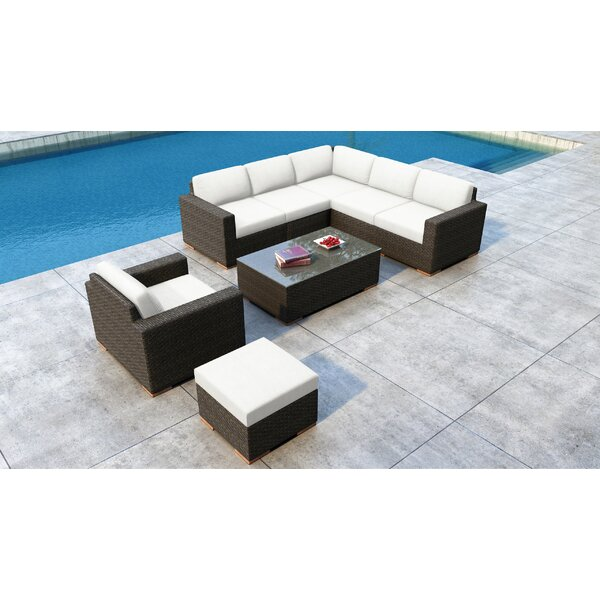 Glen Ellyn 8 Piece Rattan Sectional Seating Group with Sunbrella Cushions by Everly Quinn