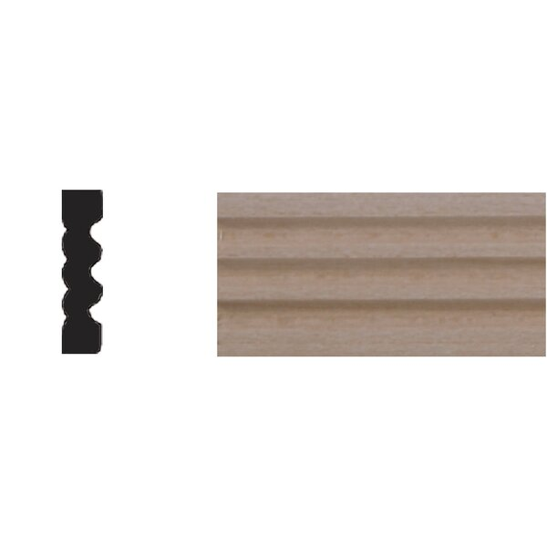 1/4 in. x 1 in. x 4 ft. Basswood Reversible Flute Moulding by Manor House