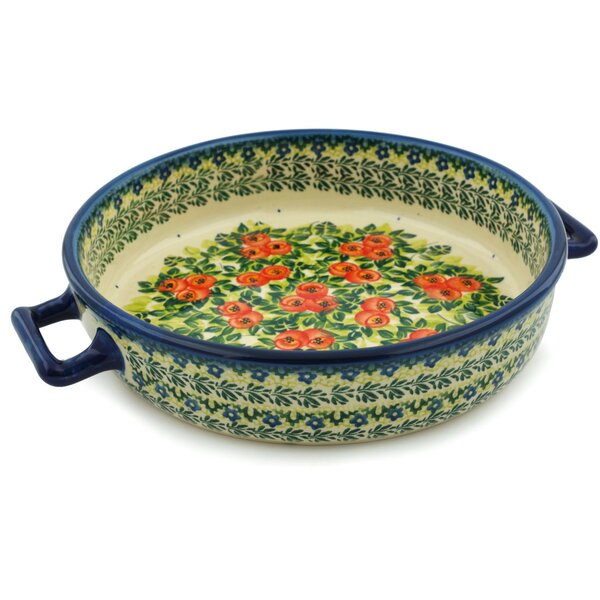 Round Non-Stick Polish Pottery Baker with Handles by Polmedia