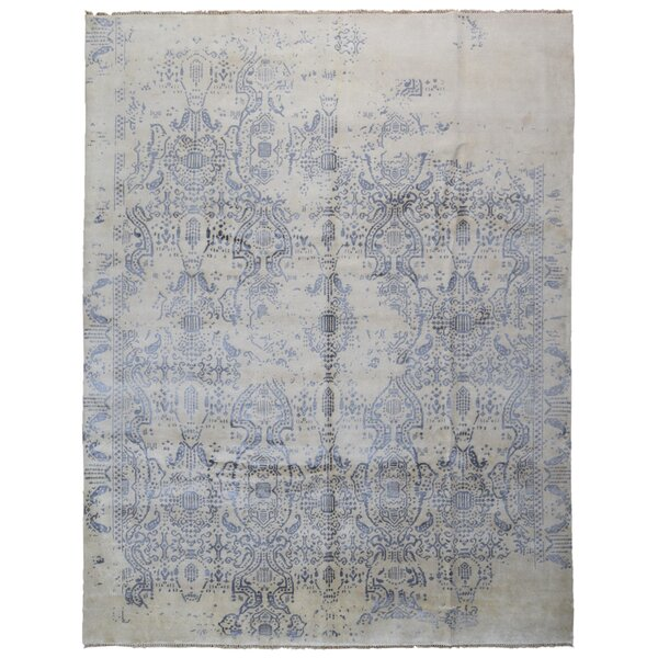 One-of-a-Kind Hollard Oriental Hand-Knotted Blue/Gray Area Rug by Bloomsbury Market