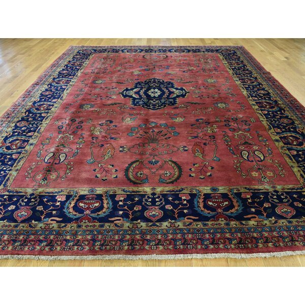 One-of-a-Kind Bodrum Sarouk Fereghan Revival New Zealand Handwoven Red Wool Area Rug by Isabelline