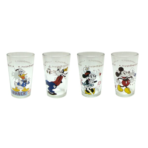 Disney 8 oz. Mickey and Friends Juice Glass Set (Set of 4) by R Squared