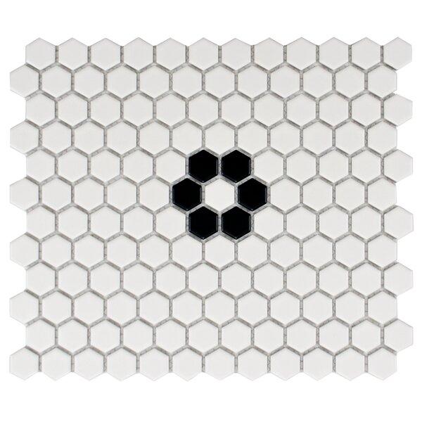 Retro 10.25L x 11.75W Porcelain  Mosaic Tile in Matte White/Black by EliteTile