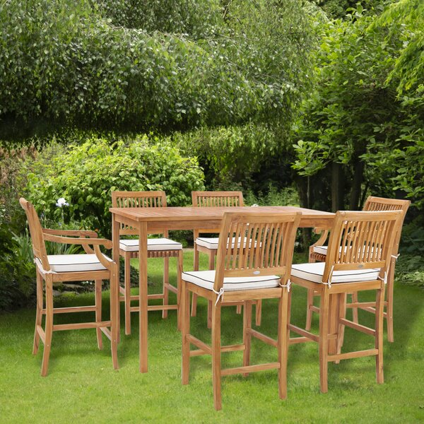 Dayne 7 Piece Teak Bar Height Dining Set with Cushions by Bay Isle Home