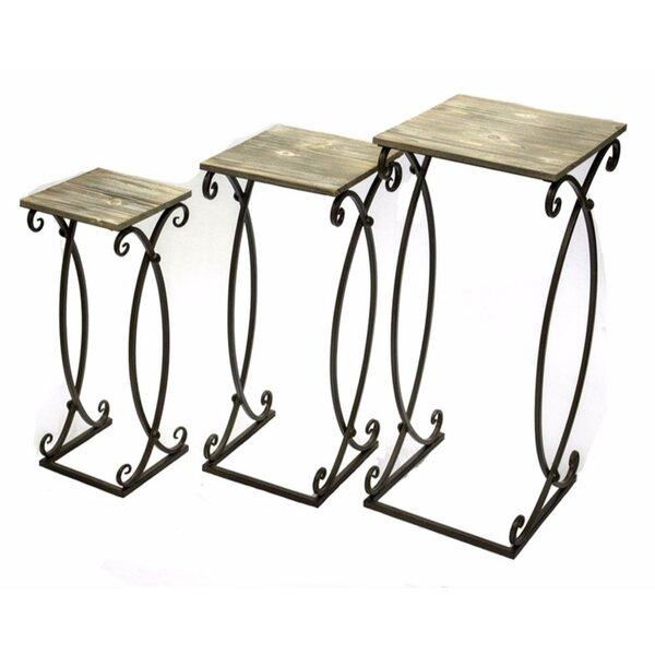 Coriandre Metal & Wood 3 Piece Nesting Tables by Fleur De Lis Living