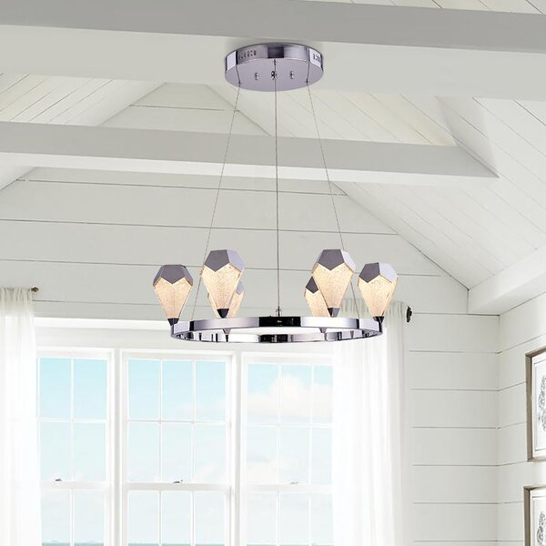 Adda 6 - Light Candle Style Wagon Wheel Chandelier by George Oliver George Oliver