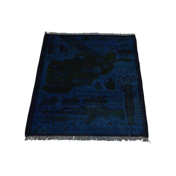 One-of-a-Kind Afghan War Guns and Tanks Overdyed Hand-Knotted Blue Area Rug by 1800GETARUG