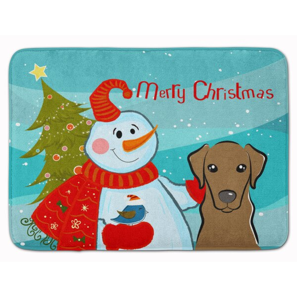 Snowman with Labrador Memory Foam Bath Rug by The Holiday Aisle