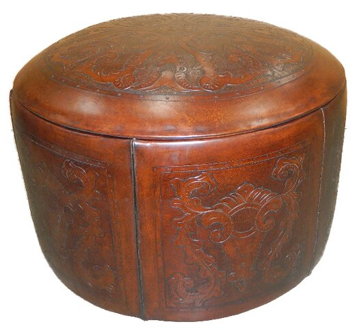 Free S&H Navarette Leather Pouf Ottoman