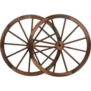 Decorative Vintage Wood Garden Wagon Wheel Wall Décor (Set Of 2)