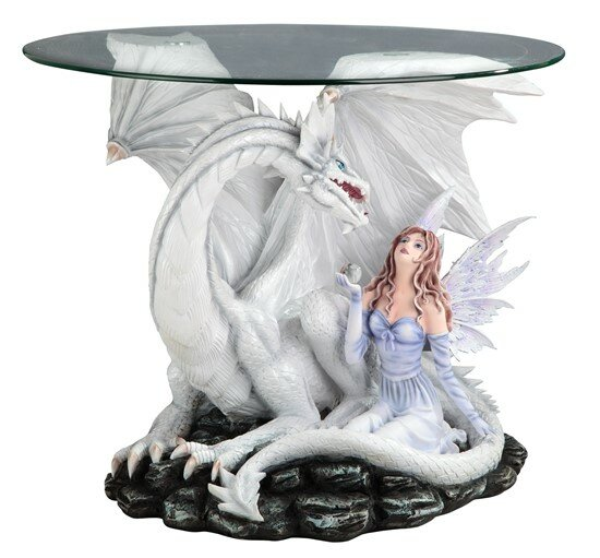 Fairy and Dragon Glass End Table by Major-Q Major-Q
