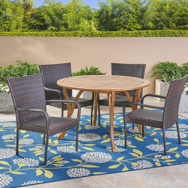 Sprenger 5 Piece Teak Dining Set by Highland Dunes