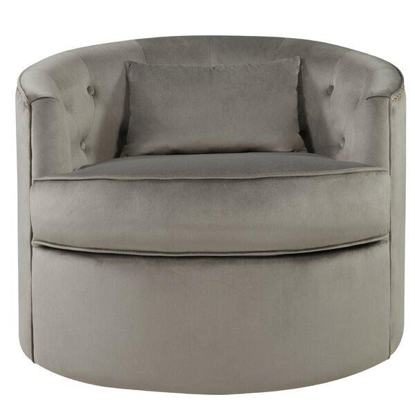 Donahue Velvet Nailhead Tufted Swivel Barrel Chair by Rosdorf Park