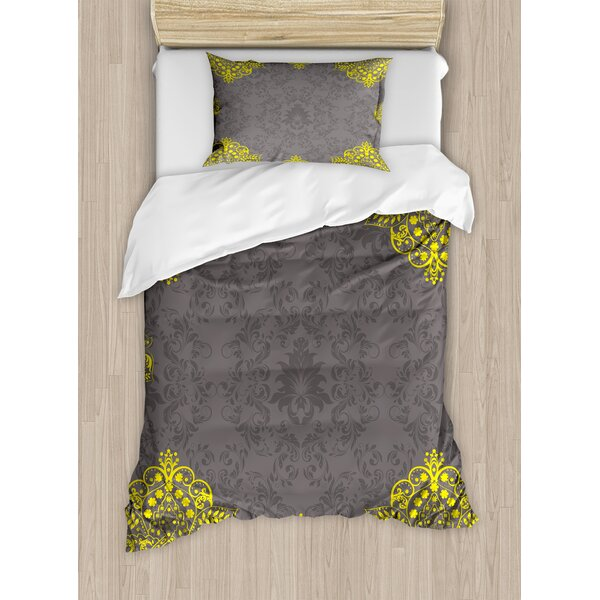 Victorian Style Backdrop with Indian Floral Frame Image Duvet Set by Ambesonne