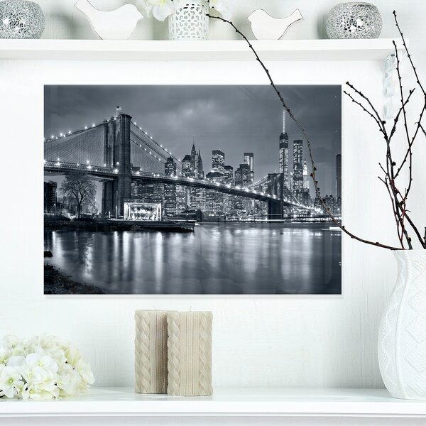 Panorama New York City at Night Cityscape Photographic Print on Wrapped Canvas by Design Art